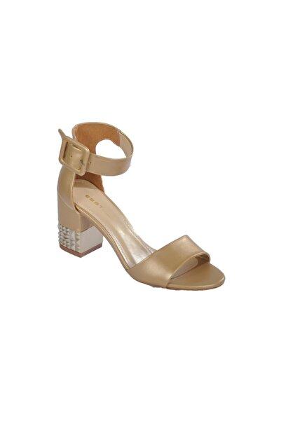 pabucmarketi Kadın Altın Sedef Topuklu Ayakkabı