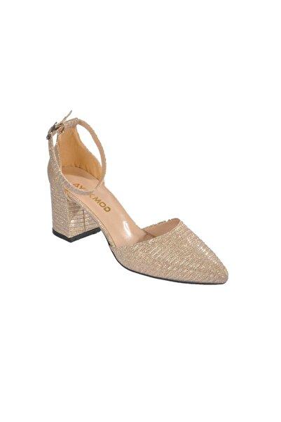 pabucmarketi Kadın Simli Altın Topuklu Ayakkabı
