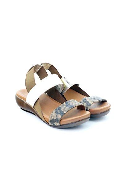 SEÇ KUNDURA Kadın Altın Hakiki Deri Sandalet Zyn 1944