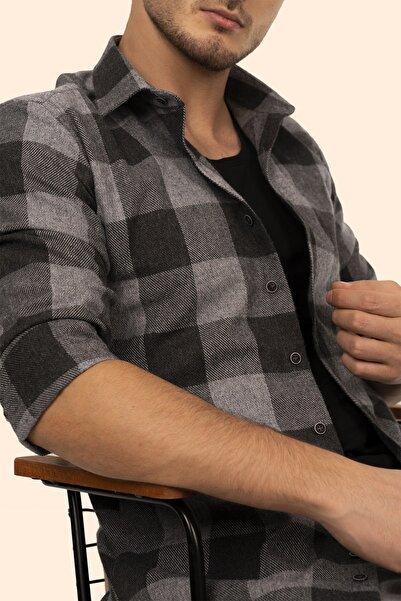 Etikmen Erkek Siyah Gri Damalı Oduncu Slimfit Gömlek