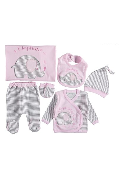 İmaj Bebek Pembe Çizgili Filli Battaniyeli 6'lı Set