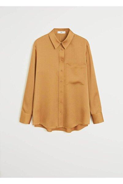 MANGO Woman Kadın Koyu Sarı Cepli Saten Gömlek 67054408