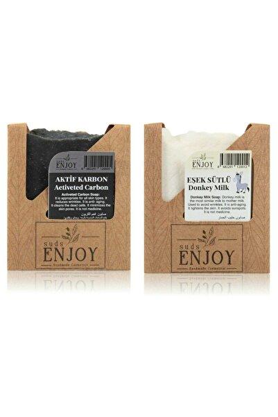 Enjoy Doğal Aktif Karbon - Eşek Sütlü El Yapımı Yüz, Saç Ve Vücut Sabunu (ikili Paket)