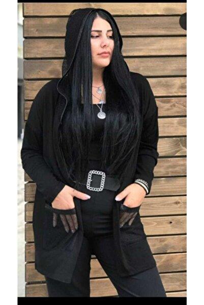 TREND Kadın Siyah  Fileli Ceket