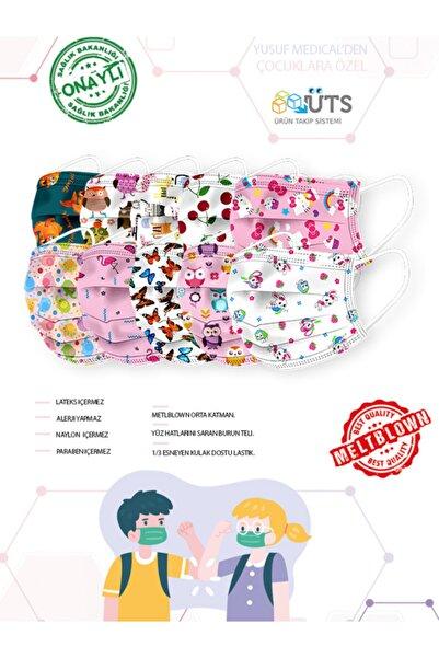 YUSUF MEDİCAL Cerrahi Meltblown Kız Çocuk Maskesi 10 Farklı Desen 100 Adet