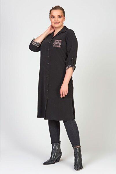 Femina Kadın Siyah  Büyük Beden Kolları Ekose Cep Detaylı Gömlek Tunik