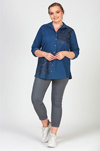 Femina Kadın Mavi  Büyük Beden Spor Yazılı Gömlek