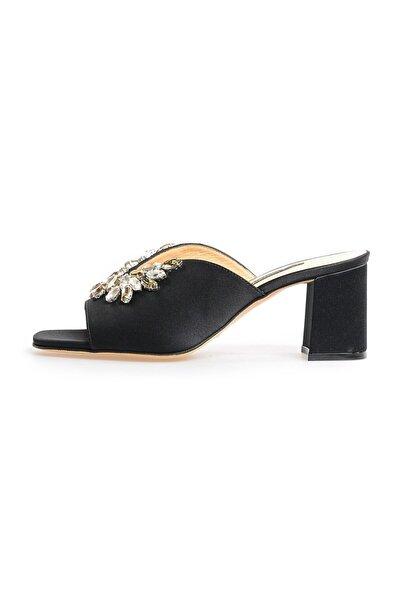 Flower Kadın Siyah Saten Taşlı Kalın Topuklu Terlik
