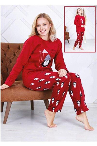 fames Kadın Kırmızı Peluş Polar Pijama Takımı