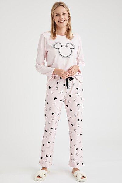 DeFacto Kadın Pembe Mickey Mouse Baskılı Uzun Kollu Pijama Takımı