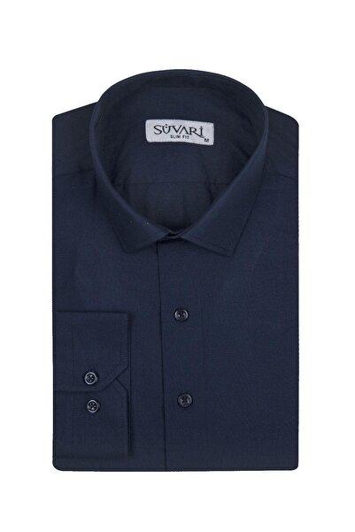 SÜVARİ Erkek Dar Kalıp Düz Mavi Gömlek