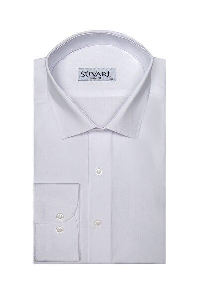 SÜVARİ Erkek Beyaz Dar Kalıp Düz  Gömlek