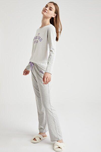 DeFacto Kadın Gri Yazı Baskılı Uzun Kollu Pijama Takımı