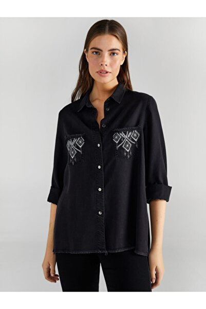 Faik Sönmez Kadın  Gri Nakışlı Jean Gömlek 61390