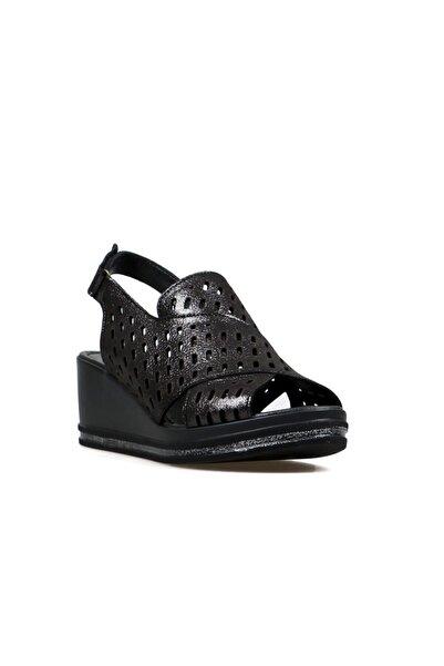 Hammer Jack Kadın Siyah Dolgu Topuklu Sandalet 549
