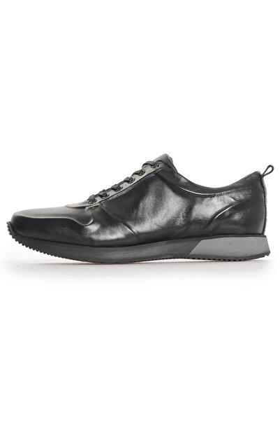 Flower Erkek Siyah Deri Bağcıklı Ayakkabı