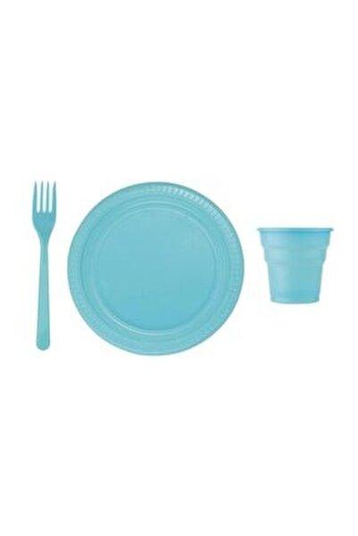 25 Kişilik Mavi Lüx Plastik Tabak, Bardak, Çatal Seti