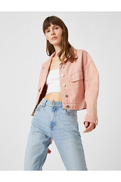 Koton Kadın Pembe Düğmeli Blazer Jean Ceket
