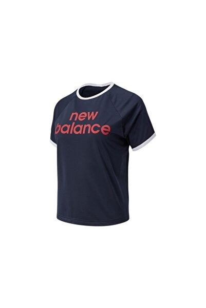 New Balance Kadın Lacivert Achiever Graphic Kısa Kollu T-Shirt