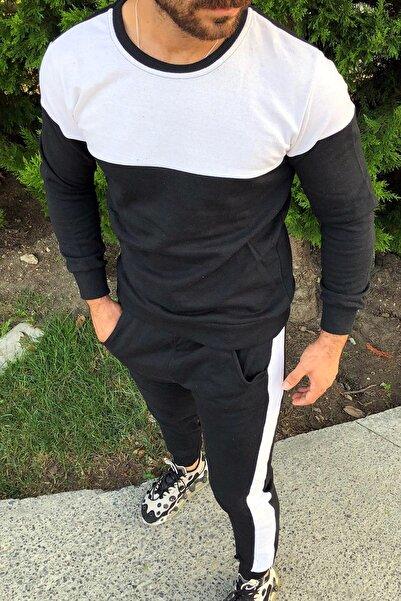 aksesuargo Siyah Slim Fit Beyaz Şeritli Eşofman Takımı