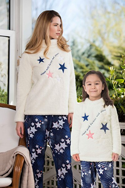 Yeni İnci Beyaz Polar Yıldız Desenli Anne Kız Pijama Kombini