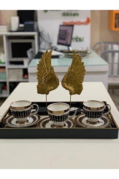 AROW Porselen Altın Yaldızlı Siyah Nescafe Takımı 6 Kişilik