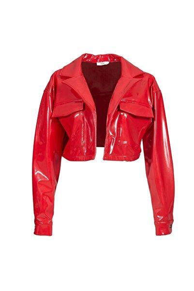 Keikei Kadın Kırmızı Deri Uzun Kol Jacket