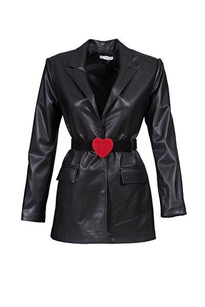 Keikei Kadın Siyah Deri Uzun Kol Jacket