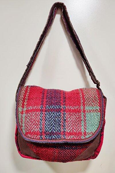Miray hediyelik Kadın Kırmızı Etnik Kilim Desenli Bez Çanta