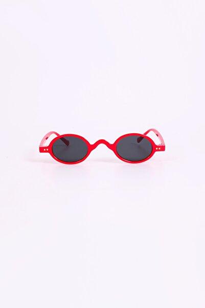 Kapin Kırmızı Çerçeve Elips Minimal Güneş Gözlüğü