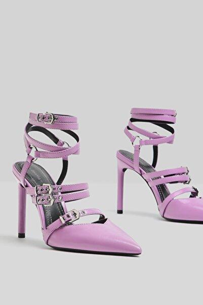 Bershka Kadın Mor Bilekten Bantlı Ince Topuklu Ayakkabı