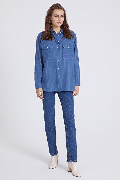 STELLA PULVIS Kadın Mavi Beyaz Çizgili Cepli Gömlek