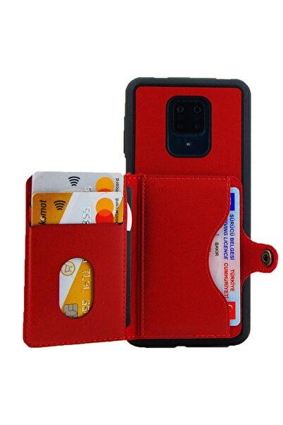 Coverzone Xiaomi Redmi Note 9s Kılıf Kart Ve Para Gözlü Cüzdan Marsupial Kapak Kırmızı