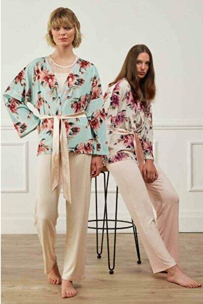 Feyza Pijama Feyza Kimono Sabahlıklı Üçlü Pijama Takımı