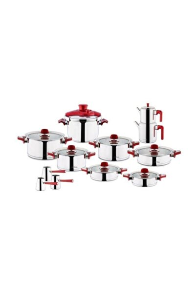 Aryıldız Flamingo Kırmızı Cam Ideal 22 Parça Tencere Seti