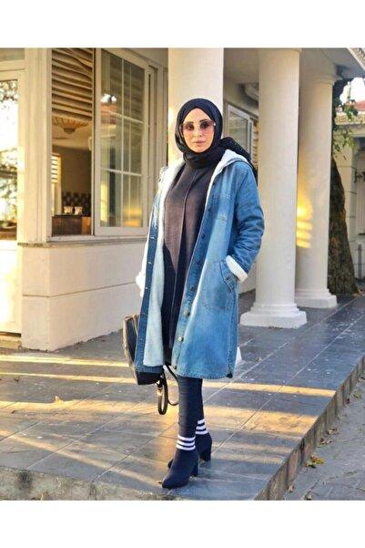Neways Kadın Mavi Kot Kap Pardesü