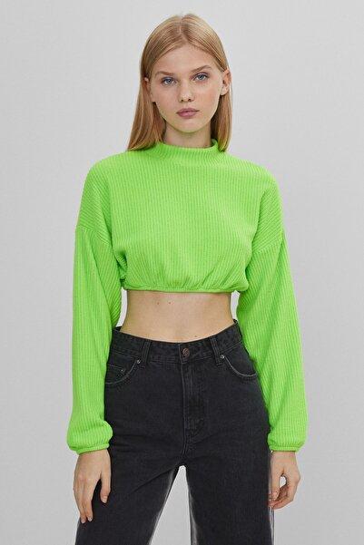 Bershka Elastik Detaylı Fitilli Crop Fit T-shirt