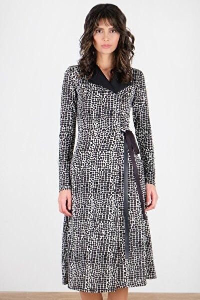Spazio Kadın Siyah Ginerva Deri Detaylı Anvelop Elbise