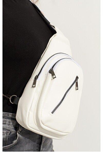 Cnd&Butik Kadın Beyaz Çapraz 3 Bölmeli Kalın Deri Çok Kullanışlı Detaylı Çanta