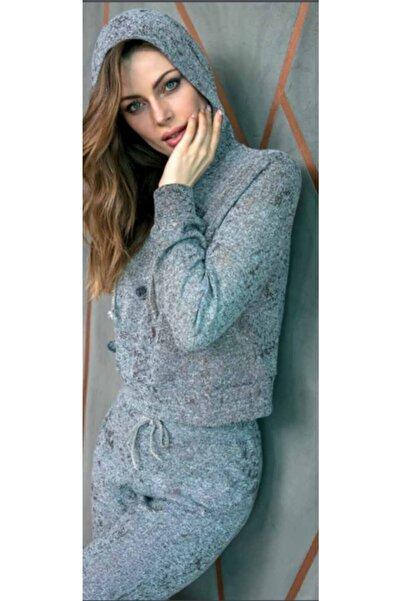 Anıl Kadın Gri Bilekleri Lastikli Sweatshirt Kapüşonlu Pijama Takımı