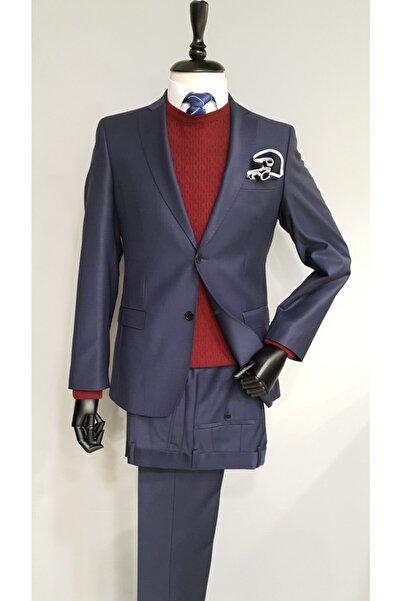 COMİENZO Erkek Lacivert Klasik Fit Desenli Mono Yaka Çift Yırtmaç Yün Takım Elbise