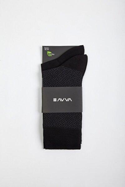 Avva Erkek Siyah Desenli Soket Çorap A02y8507