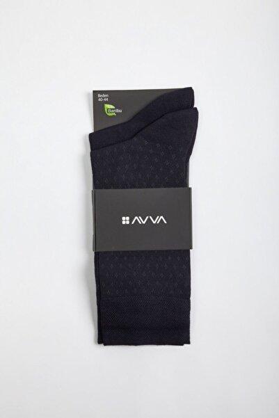 Avva Erkek Lacivert Desenli Soket Çorap A02y8512