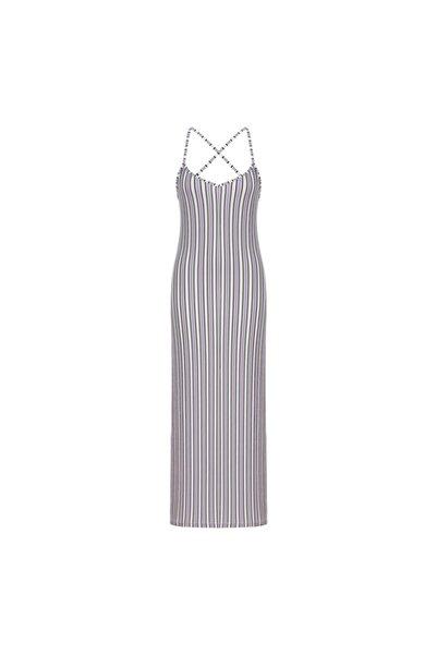 Mudo Kadın Mor Çizgili İp Askılı Maxi Elbise 1218476