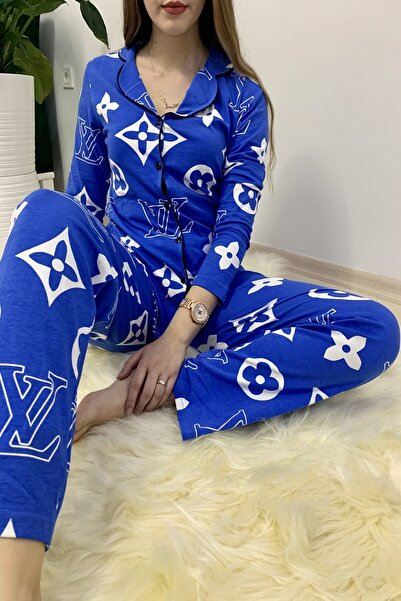 Sude Mavi Louis Vuitton Pijama Takımı