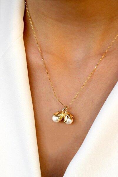 dalmarkt Kadın Sarı 2 Incili Çiçek 925 Ayar Gümüş Kolye