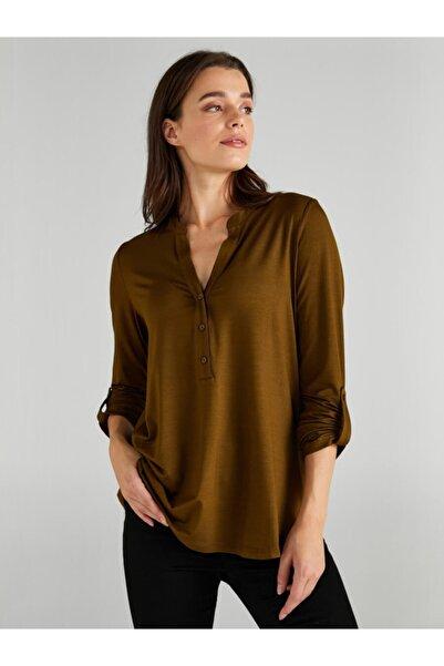 Faik Sönmez Kadın Yeşil Kaçık Yaka Uzun Kollu T-shirt
