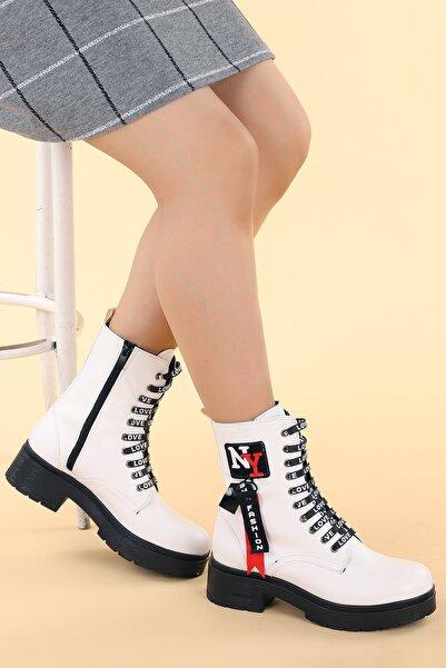 Ayakland Kadın Beyaz Bot Ayakkabı 2463-2116