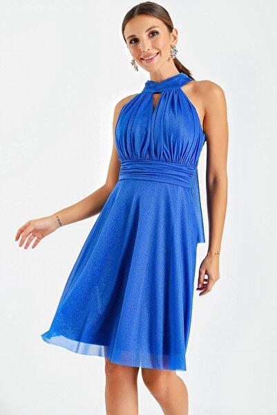 By Saygı Kadın Saks Mavisi Yaka Bağlamalı Simli Abiye Elbise
