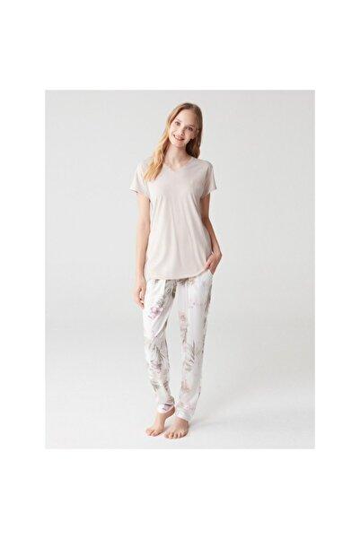 U.S POLO Kadın Bej Pijama Takımı 16342